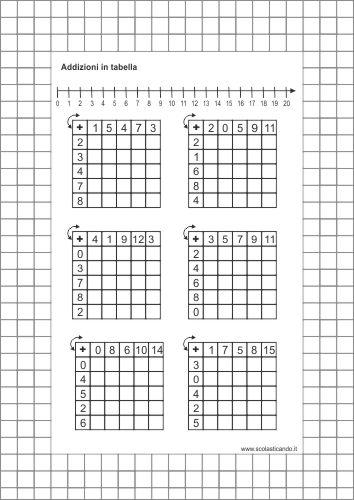 Classe Prima Matematica Addizioni E Sottrazioni In Tabella Schede