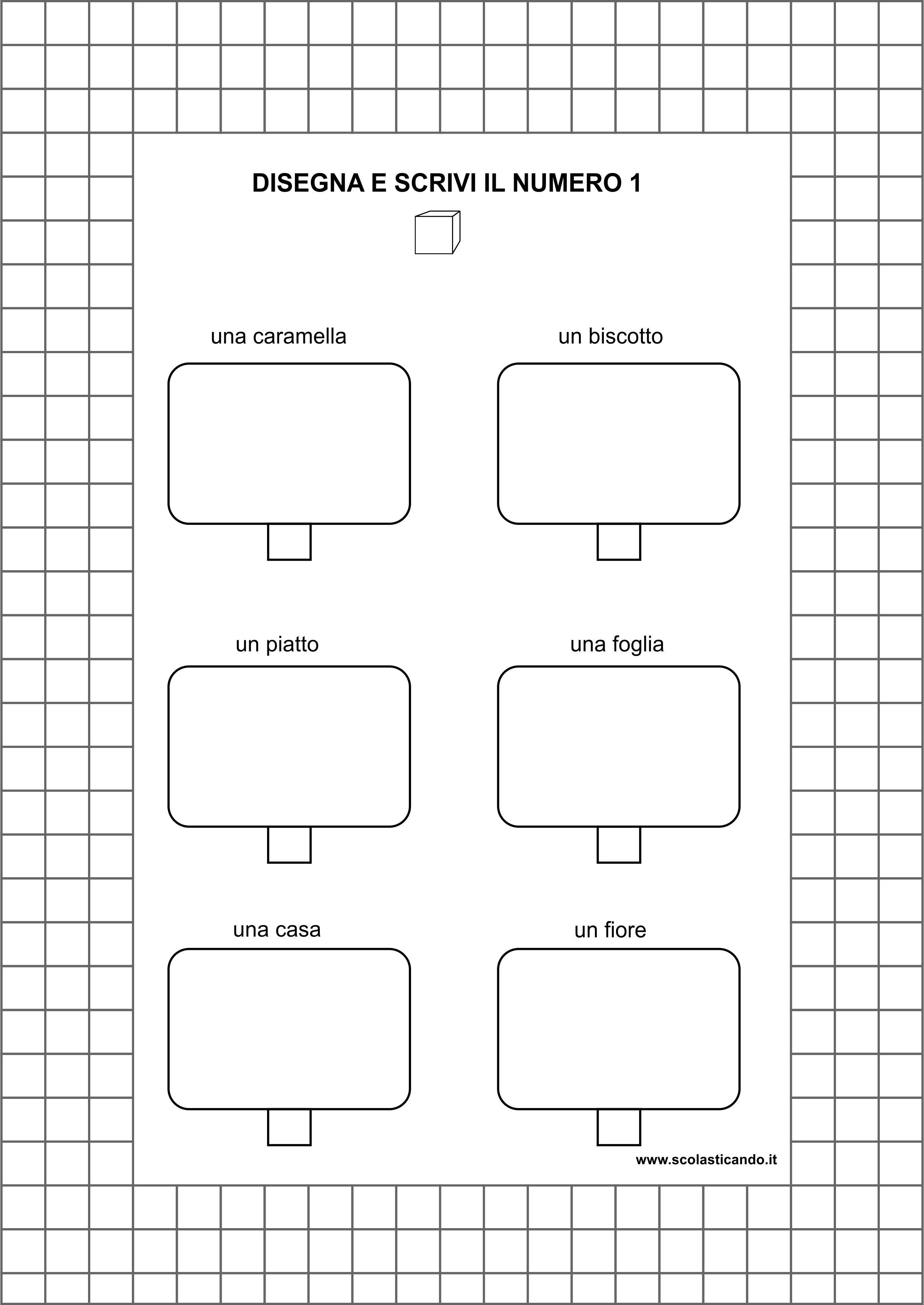 Assez Classe prima, matematica: il numero 1, schede da scaricare WH83