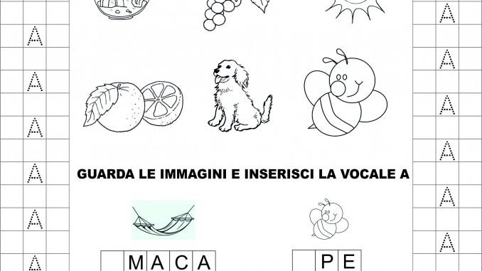 Classe Prima, Italiano: La Vocale A, Schede Didattiche Da