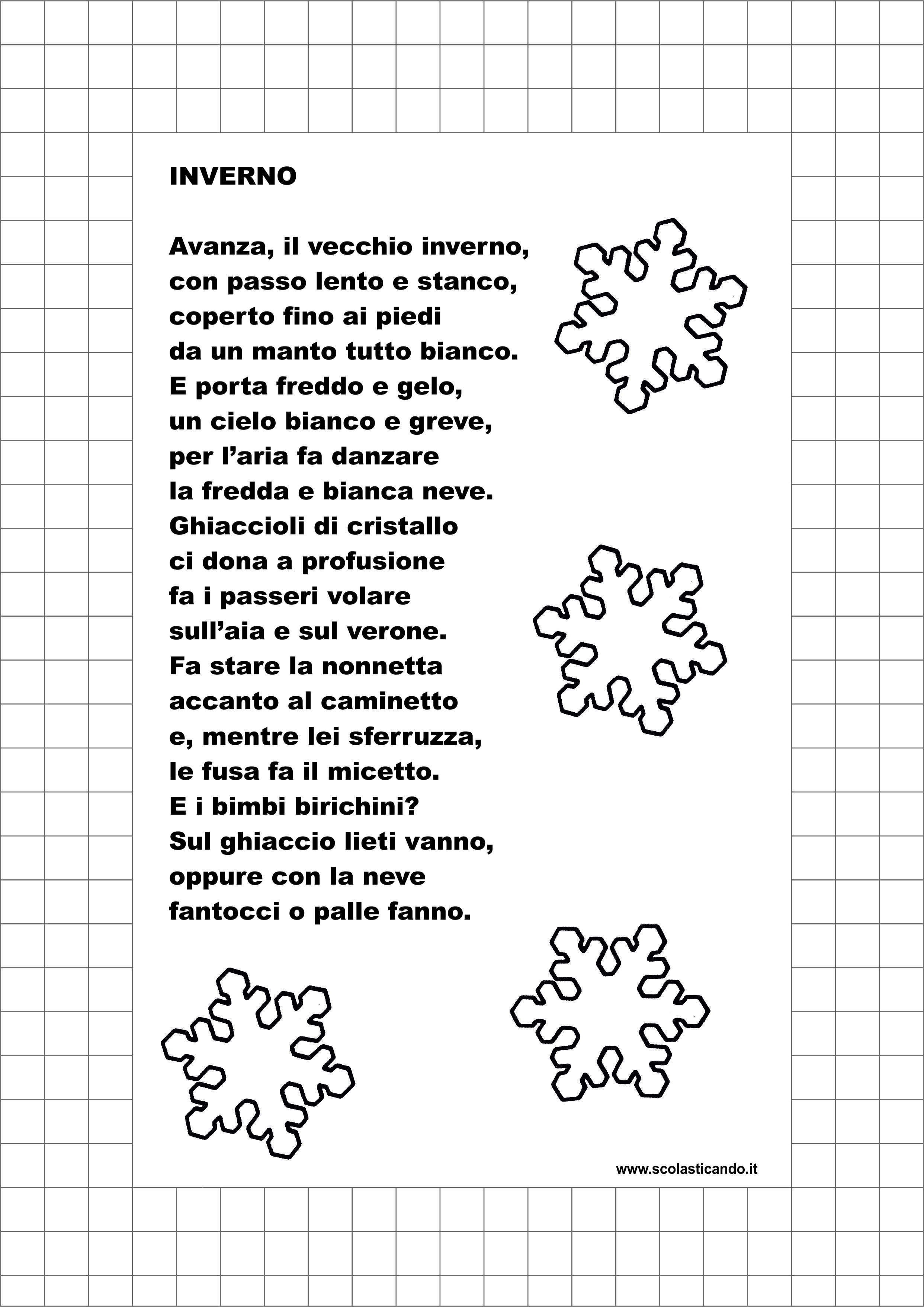 Poesie e filastrocche l 39 inverno - Poesie primaverili per la scuola materna ...