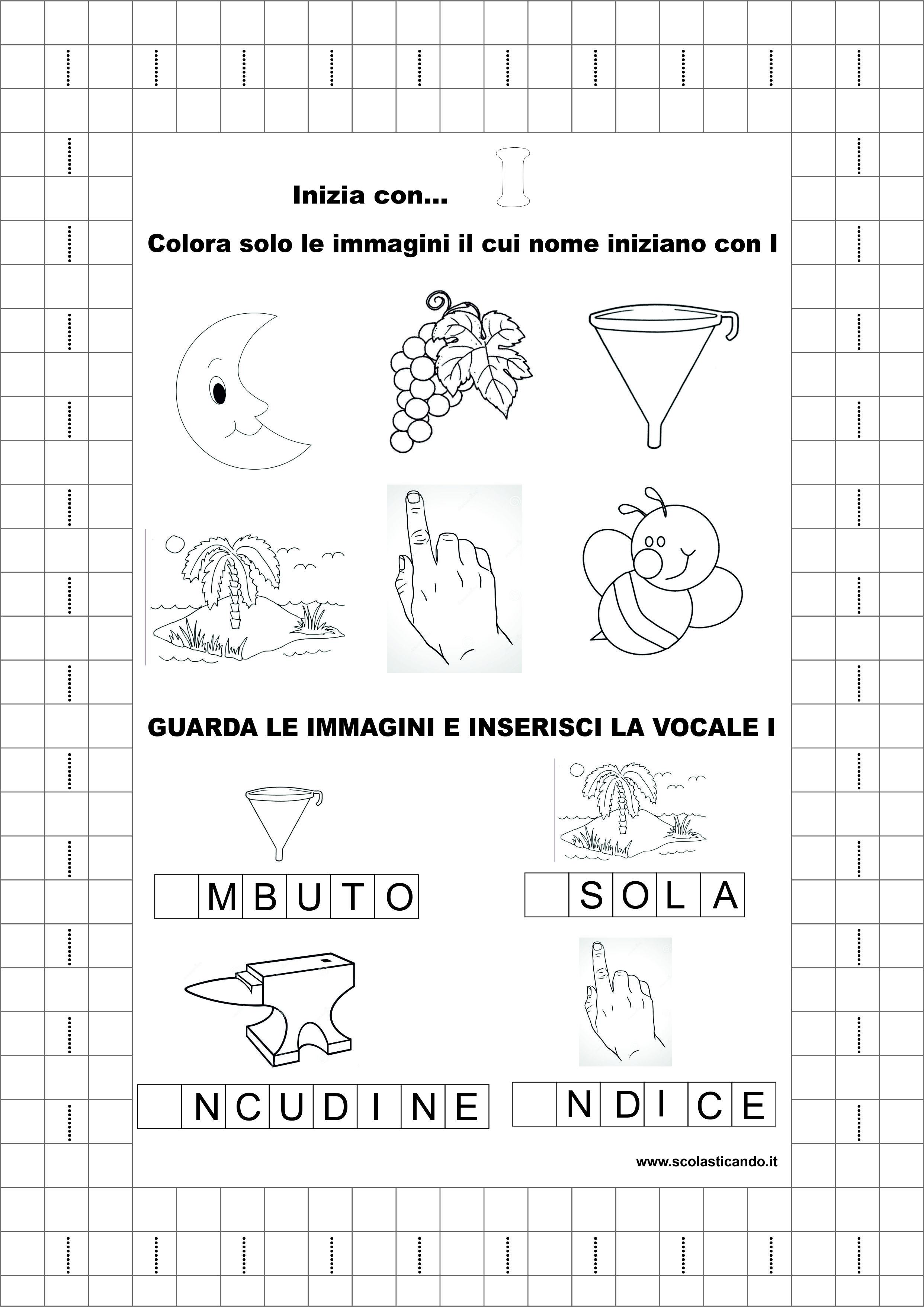 Molto Classe prima, italiano: la vocale I, schede didattiche da scaricare BJ41