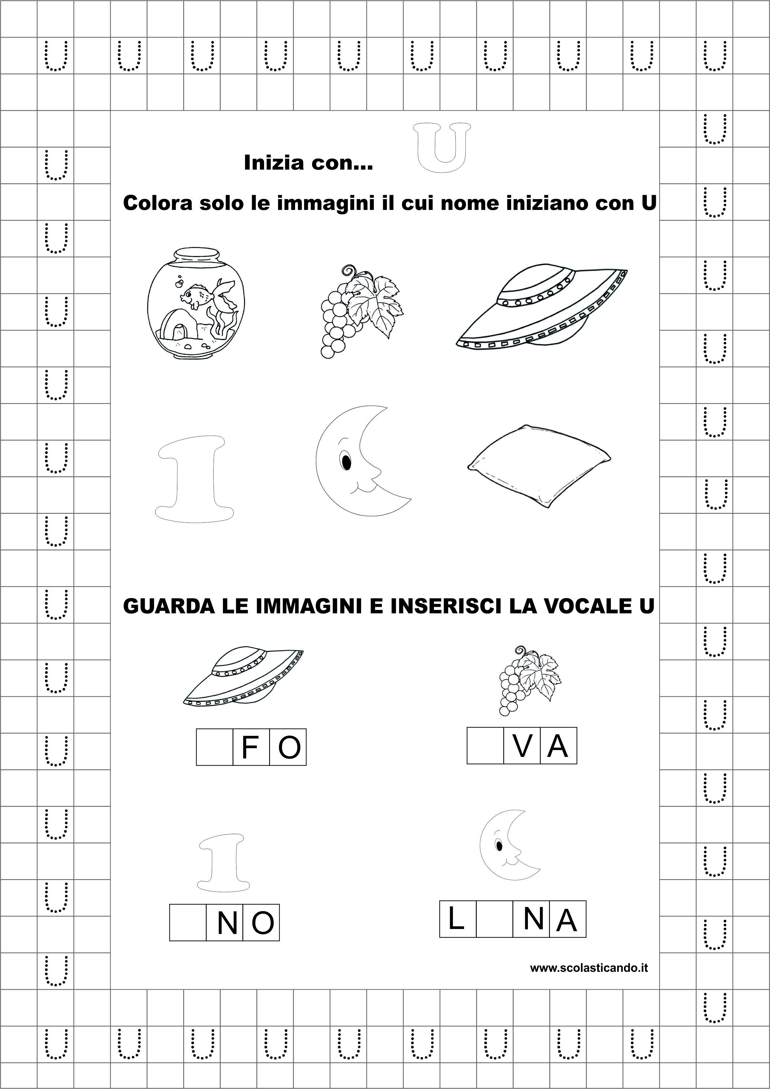 Estremamente Classe prima, italiano: la vocale U, schede didattiche da scaricare DJ64