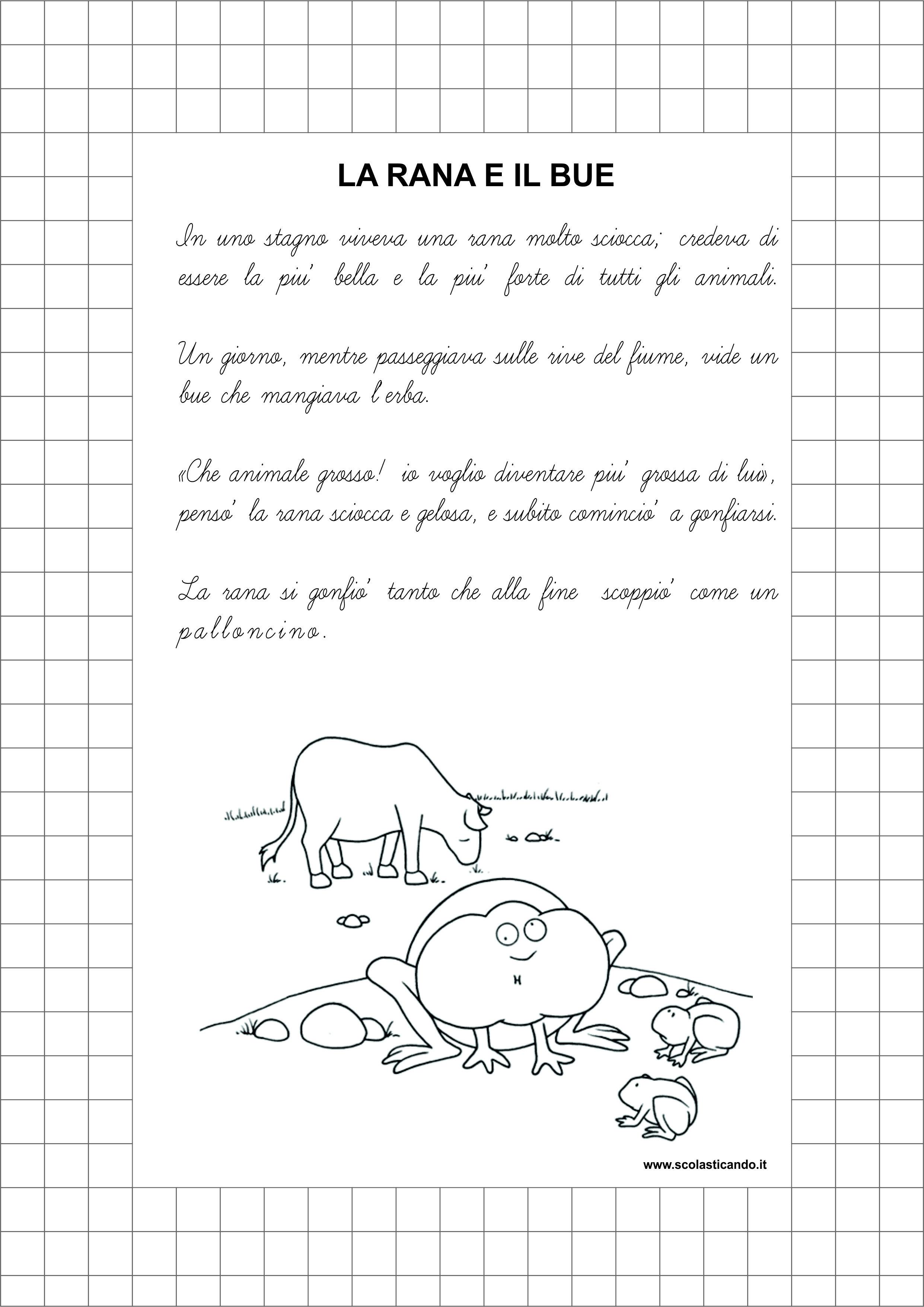Amato Classe seconda, italiano: la rana e il bue, lettura e comprensione FY72