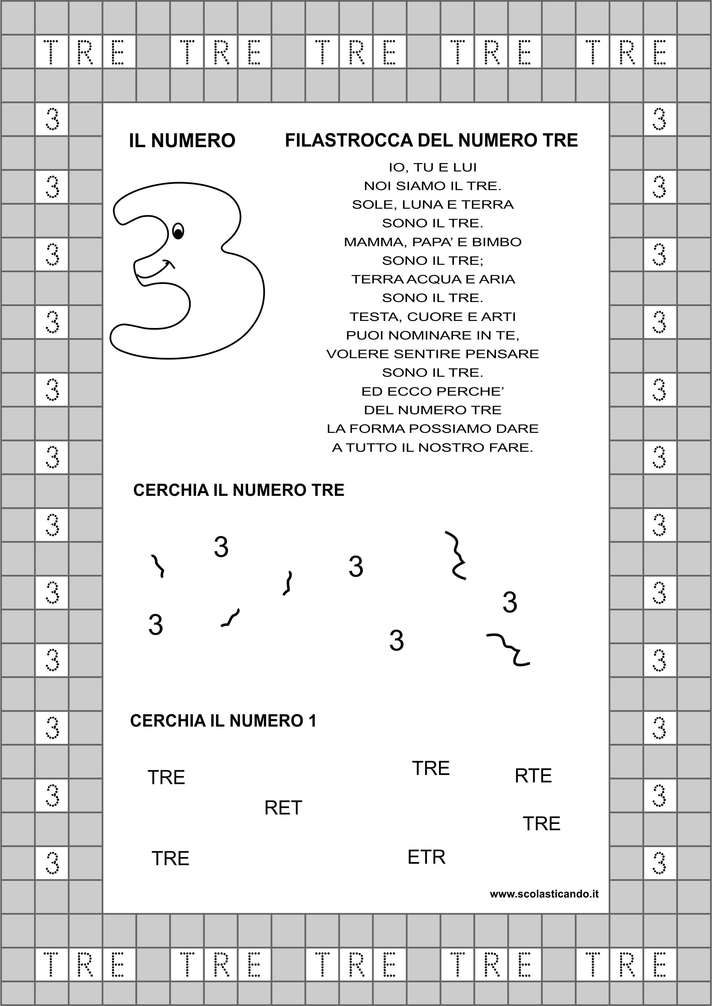 Classe Prima Matematica Il Numero 3 Schede Da Scaricare