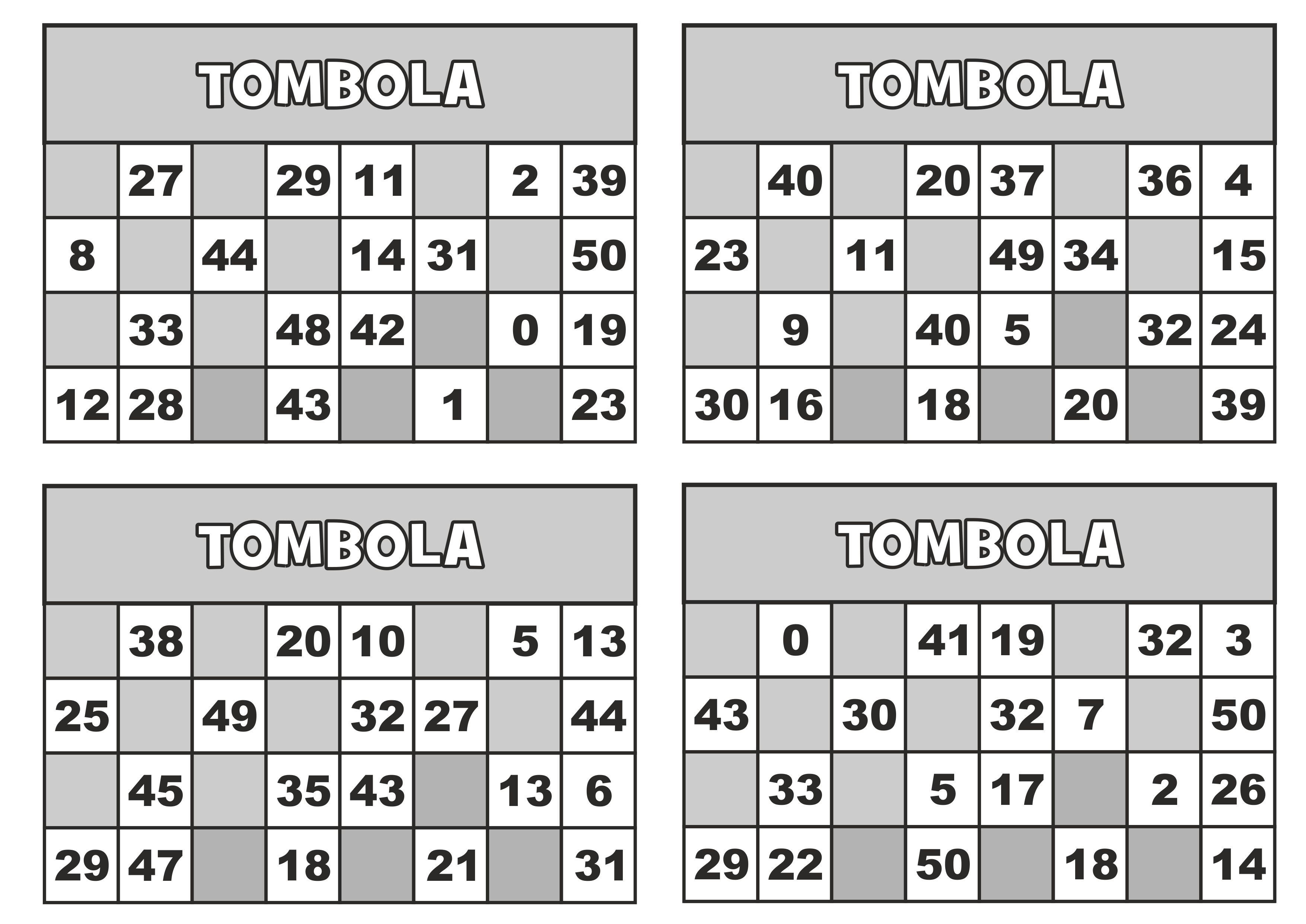 Classe seconda matematica gioco della tombola entro il 50 for Cartelle tombola per anziani