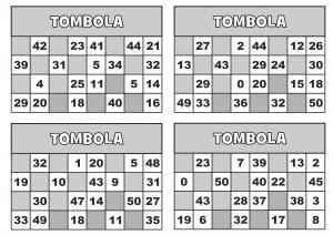 TOMBOLA CARTELLE 4