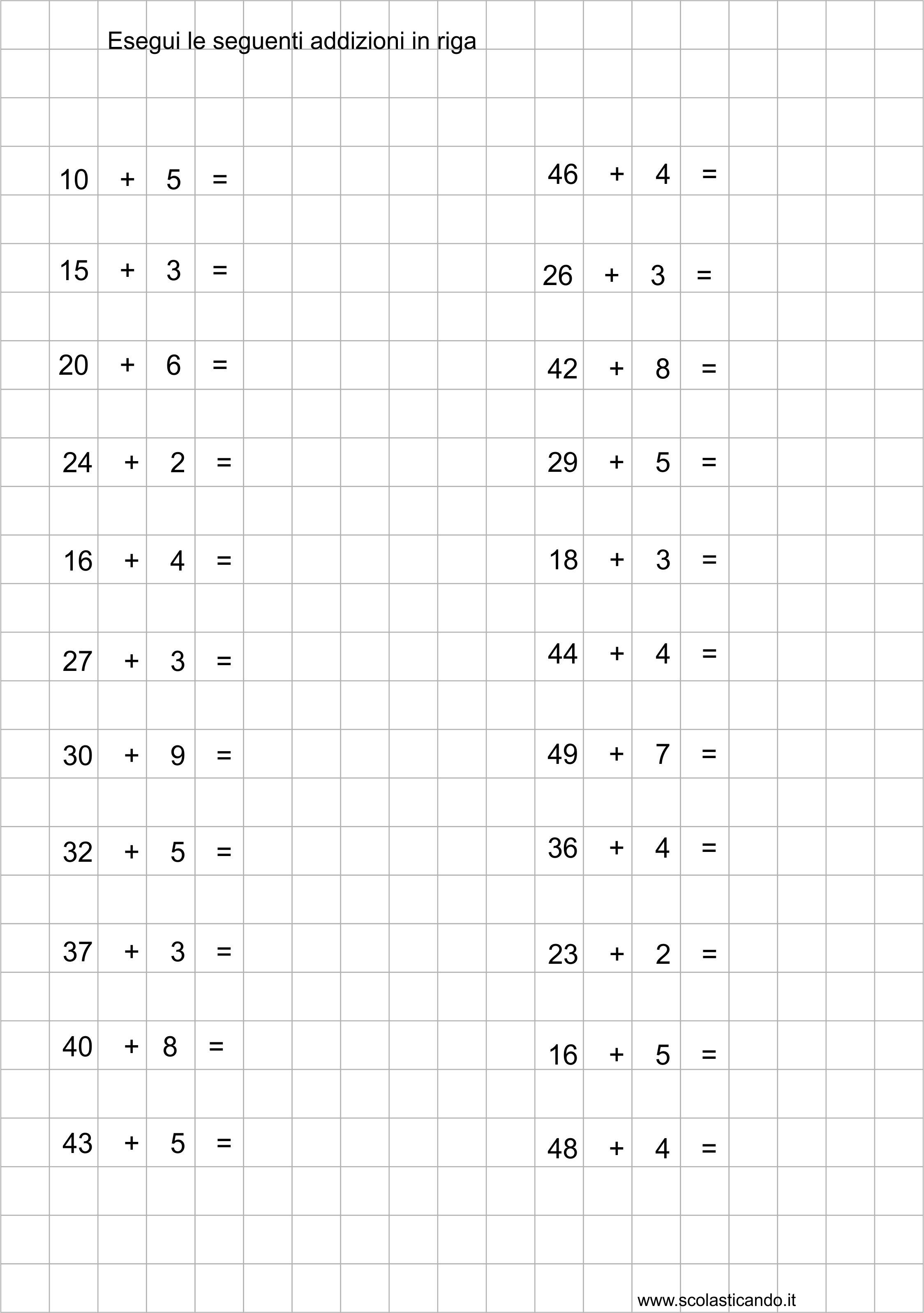 Classe Seconda Matematica Addizioni E Sottrazioni In Riga